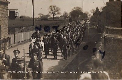 WW1 soldier group 24th London Regiment The Queens route march Smallford Herts