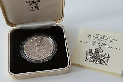Royal Mint 1980 Queen Mother 80th Birthday Silver Proof Crown Coin uncirculated