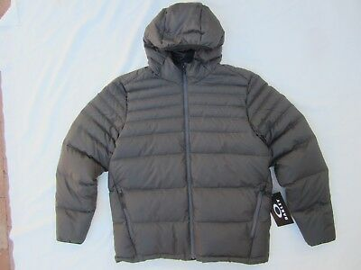 New OAKLEY THERMOFILL DOWN JACKET PUFFER w/ HOOD Forged Iron L GOLF SNOWBOARD