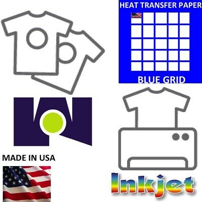 "InkJet HEAT TRANSFER PAPER  IRON/ON DARK T-SHIRT 25 PK 8.5""x11"" #1-USA Blue Grid"