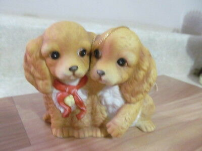 Home Interior / Homco Puppies Figurine Masterpiece Porcelain 1988