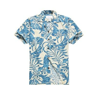4030db13 Made in Hawaii Men Aloha Shirt Luau Cruise Abstract Monstera Leaf Floral in  Blue