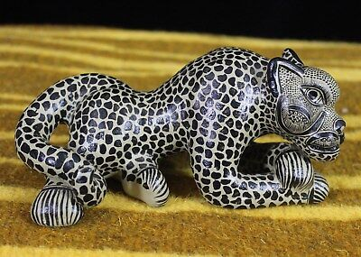 Taupe & Black Jaguar Crossed Paws Hand Made Mayan Chiapas Mexico Folk Art Tribal