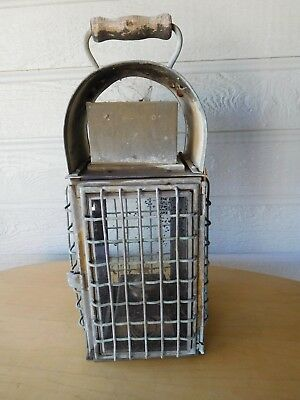 Old thick WIRE Encased Hand Held Brass Oil Lamp Nautical Maritime Ship Lantern