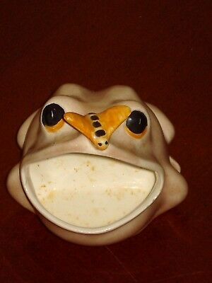 UNIQUE VINTAGE FROG (with bug on nose) SCRUBBER SOAP HOLDER PAD mcm FREE SHIP