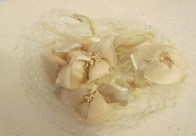 Vintage White Union Made Women's Veil Hat Accessory with Floral Flower RARE HTF