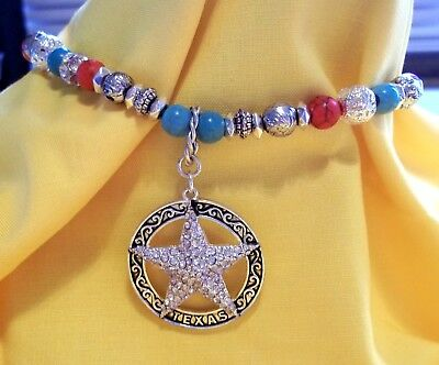 Turquoise Silver Texas Star Boot Chain Bracelet Strap Cowgirl Western Crystal