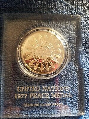 United Nations 1977 Sterling Silver Peace Medal Proof Coin