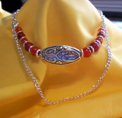 Red Silver Boot Chain Bracelet Strap Cowgirl Western Beaded Charm