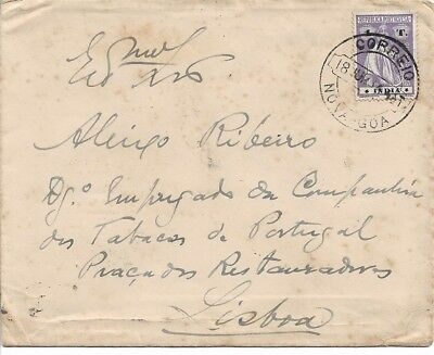 Portuguese India - 1914 Cover with single Ceres 1T from Nova Goa to Lisbon