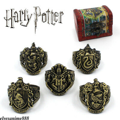 Harry Potter Retro Rings Hogwarts alloy Hollow Bronze Ring Set + With Box 5pcs