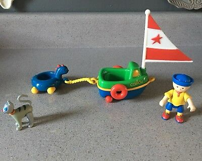 EUC PBS CAILLOU Figure Sail Boat Sailor Playset + Gilbert Cat Pull in Dino Raft