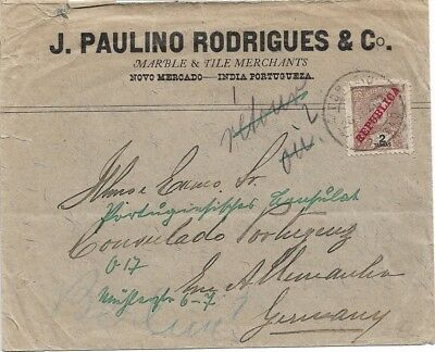 Portuguese India - 1912 Cover with single Ceres 2T from Margao to Germany