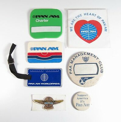 Lot of 7 Pan American Airways (PAA) Employee Pins Badges Promo Wings Name Tags