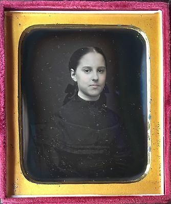Gorgeous Young Woman Tinted Face Pretty Beautiful Cute 1/6 Daguerreotype D350
