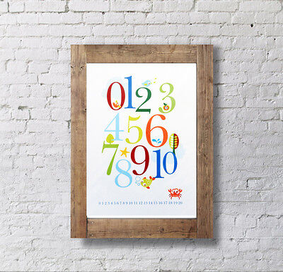 Baby Shower Gift - Kid/Childrens Counting Poster 0-10, Number Poster - RED 0