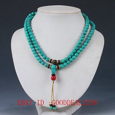 100% Natural turquoise & Red Coral & Brass Handwork Decoration Necklaces XL054