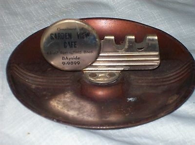Vintage Antique Tin Advertsing Ashtray Garden View Cafe