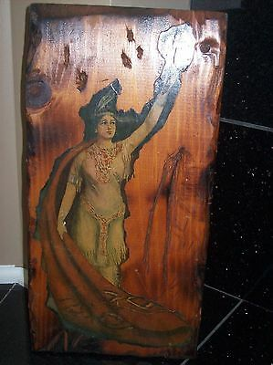 Vintage Indian Squaw Natural Wood Plaque Signed 1970