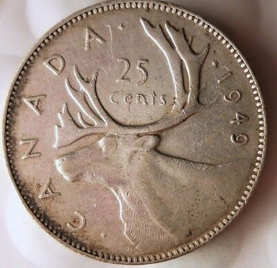 1949 CANADA 25 CENTS - Excellent Scarce Date Silver Coin - Lot #116