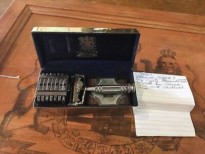 Vintage,Wilkinson Sword,7 Day Empire Set Safety Razor,Wedge Blades,Silver Box