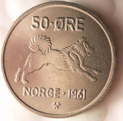1961 NORWAY 50 ORE - Key Date - AU/UNC - Great Uncommon Coin - Lot #116