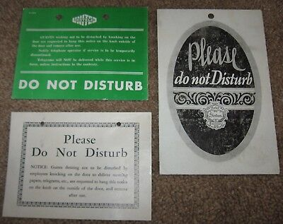 "VINTAGE 1930's LOT OF THREE (3) HOTEL ROOM ""DO NOT DISTURB"" SIGNS"
