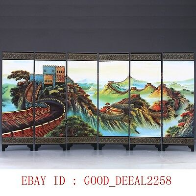 Good Chinese Lacquerware Handwork The Great Wall Screen PF020