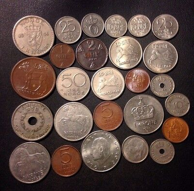 Vintage Norway Coin Lot - 1924-Present - 26 Collectible Coins - Lot #116