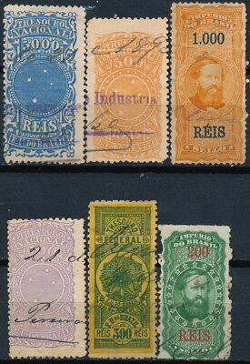 Brazil , Unchecked Classic Lot Of 6 Different Used Revenues, See..  #t19
