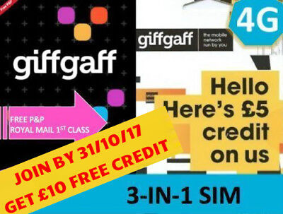 Giffgaff Mobile Phone Triple SIM Card + FREE £10 Credit +Unlimited Data & Text