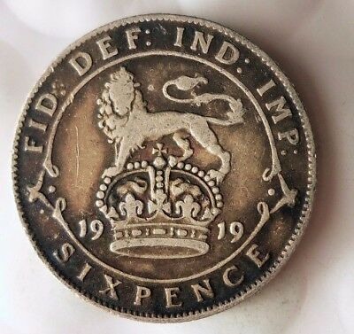 1919 GREAT BRITAIN 6 PENCE - Excellent Scarce Silver Coin - Lot #116