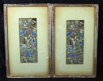 Pair Of Antique Chinese Embroidery Panels