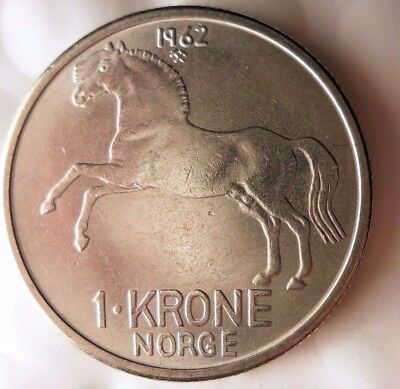 1962 NORWAY KRONE - Key Date - AU/UNC - Great Uncommon Coin - Lot #116