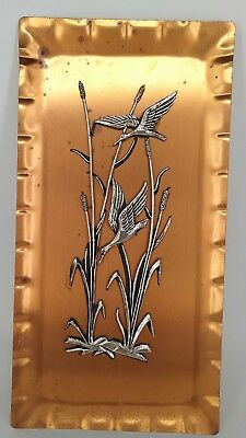COPPER WALL PLAQUE made in West Germany wall hanging ducks birds vintage retro
