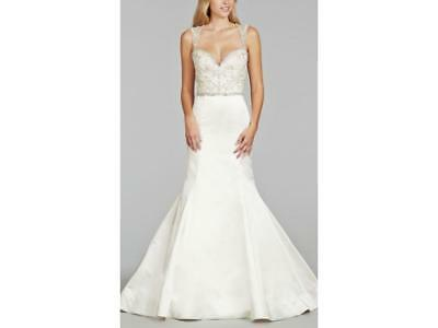 JIM HJELM STYLE 8404 NWT SAMPLE GOWN Ivory Silk Faced Duchess Satin trumpet brid