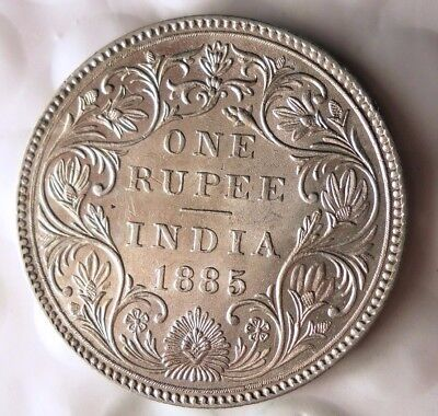 1885 BRITSH INDIA RUPEE - AU - RARE - Excellent Silver Coin - Lot #116