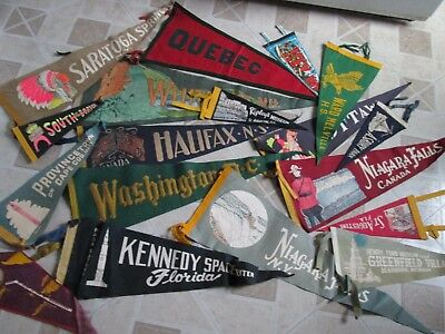Vintage Felt Pennants Lot of 18 Souvenir Travel College 1940's 1950's 1960's