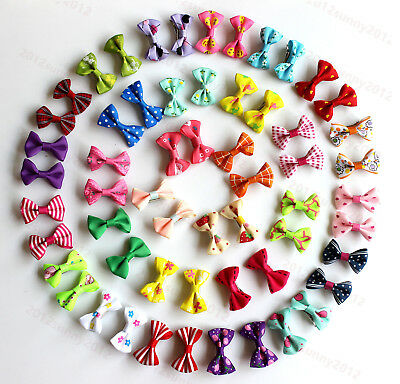 50X in pairs Pet Dog Cat Hair Clips Pairs Bowknot Pet Bows Dog Grooming Product