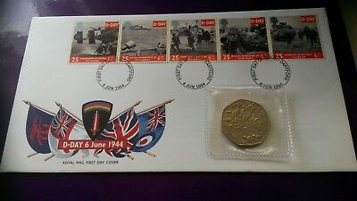 Royal Mail D Day First Day Cover 6th June 1944-1994 & D Day 50 Pence Piece