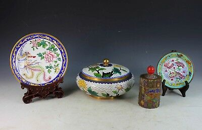 Lot OF 4 Vintage Chinese Cloisonne Box and Teacaddies