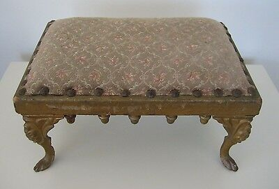 Antique Victorian Cast Iron Gold Gilt Acorn Accents Tapestry Foot Stool