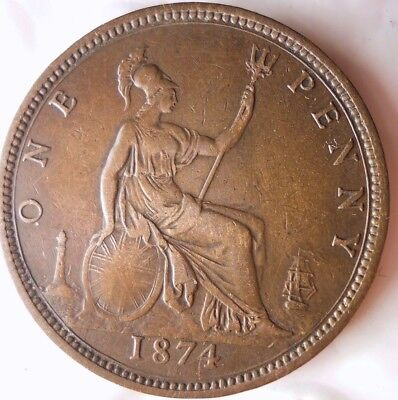 1874 GREAT BRITAIN PENNY - Rare Date - HIGH GRADE - Huge Value Coin - Lot #116