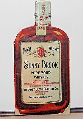 Sunny Brook Clever Whiskey Advertising piece, Cardboard Bottle 1910s 2 Piece
