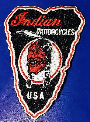 "Indian Motorcycle Embroidered ""laughing Indian"" Patch 3"" Iron/sew Pristine!"