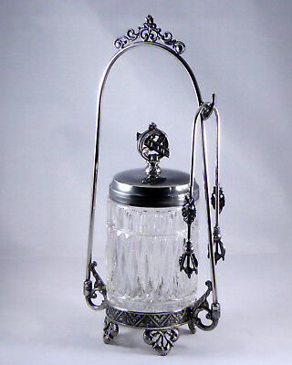 Victorian Silver Plate & Glass Pickle Caster