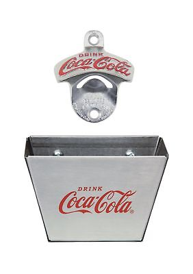 TableCraft Coca Cola Wall Mount Bottle Opener with Cap Catcher New