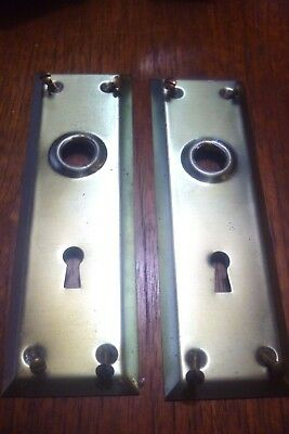 Two 2 Nos Vintage Brass Door Handle Key Way Plates Covers & Screws