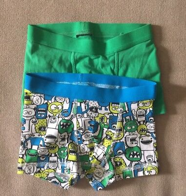 H&M Baby Boy Monster 2-pack Boxer Shorts Cotton Jersey Underwear 2Y-4Y