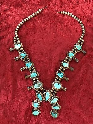 3 of 3 Antique Navajo Squash Blossom Necklace stunning Silver Turquoise Vintage